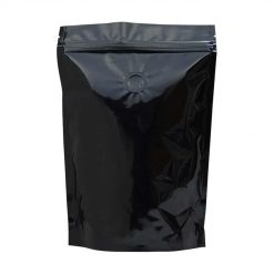 250 stand up pouch shiny black with valve