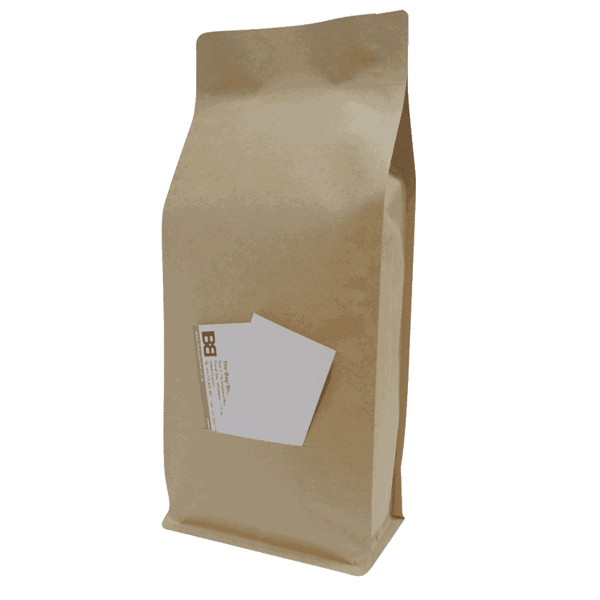 1kg box bottom bag with slit. Coffee and tea packaging