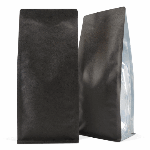 Black 250 Side Gusset Bags with Valve and Tin Tie